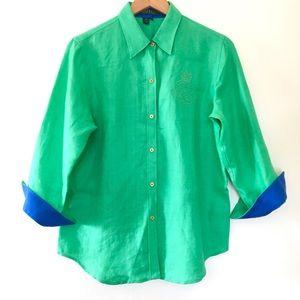 Ralph Lauren Green Linen Button Down Shirt Sz M